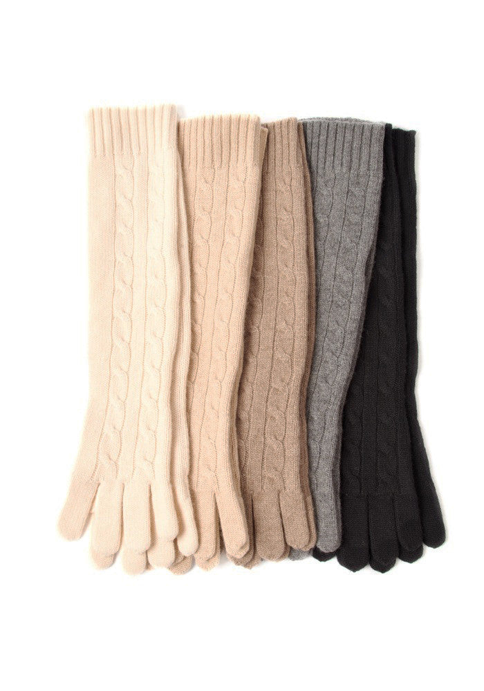 Cable Cashmere Long Gloves - The Cashmere Shop