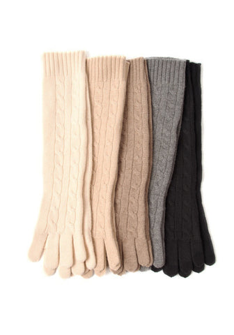 Cable Cashmere Long Gloves