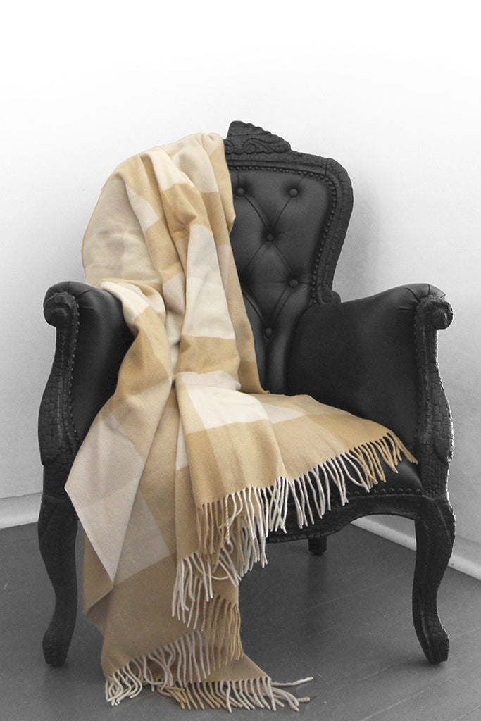 Box Plaid Camel Cashmere Blanket - The Cashmere Shop  - 1
