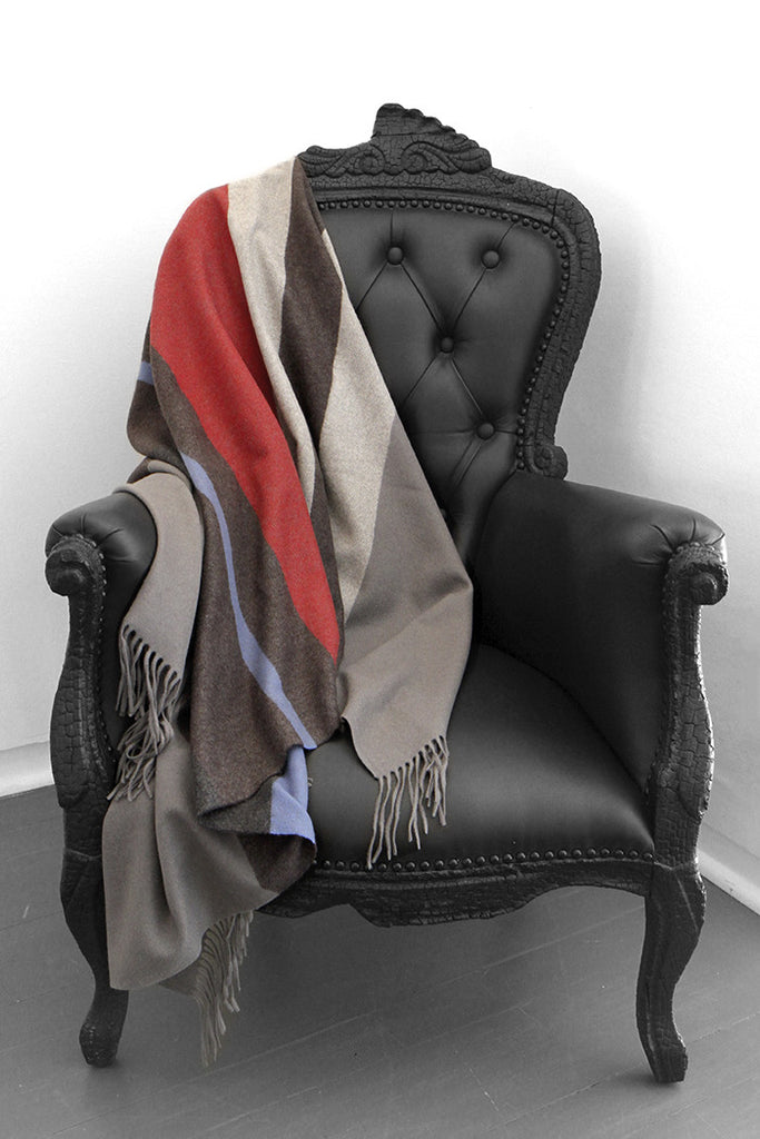 Multi Stripe Charcoal Cashmere Blanket - The Cashmere Shop  - 1