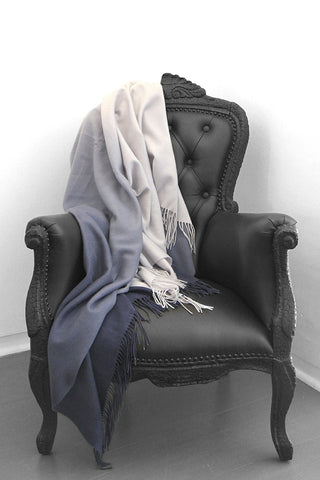Dip Dye Wool & Cashmere Powder Blue/Navy Blanket