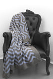 Ziggy Granite & Powder Blue Cashmere Blanket - The Cashmere Shop  - 1