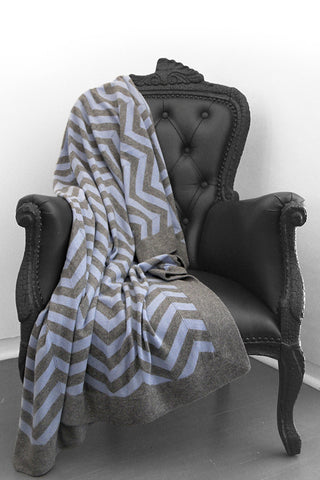 Ziggy Granite & Powder Blue Cashmere Blanket