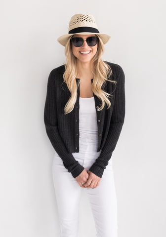 Cashmere Ribbed Cardigan