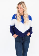 Royal Blue, Navy and White Chevron Sweater by Brodie Cashmere