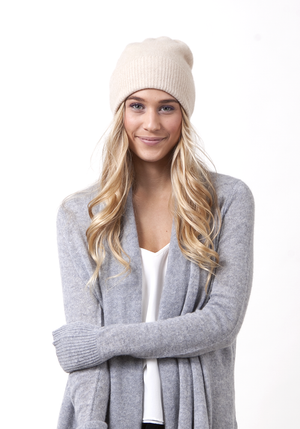 Classic Hat, 100% Cashmere in White - Winter Accessories