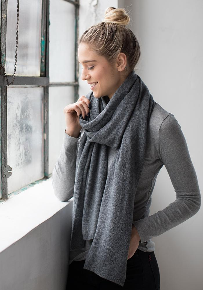 Cashmere Scarf - Everyday Classic Wrap & Scarf in Medium Grey