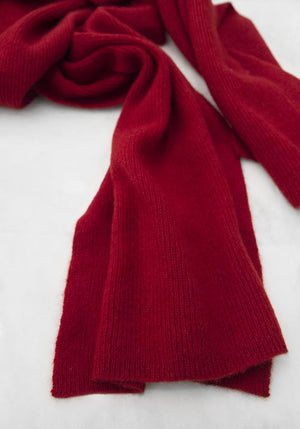 Classic Ribbed Cashmere Scarf in Dark Red - 100% Cashmere, Made in Mongolia