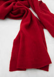 Classic Cashmere Ribbed Scarf in Dark Red - For Men, 100% Mongolian Cashmere