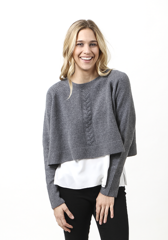 Cropped Round Neck With Cable