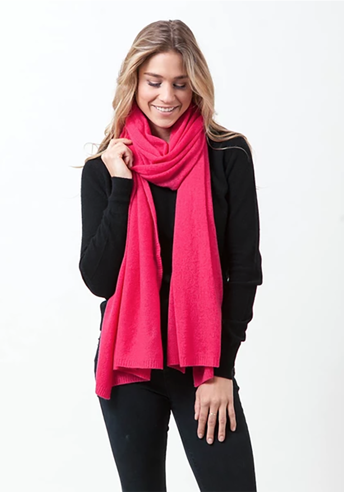 Cashmere Wrap in Scarf in Bright Pink