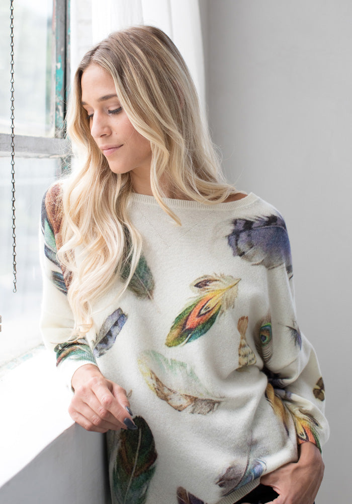 Cashmere Feather Print Sweater