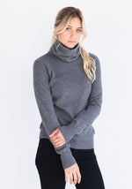 Fitted Women's Cashmere Cowl Neck Sweater, Grey