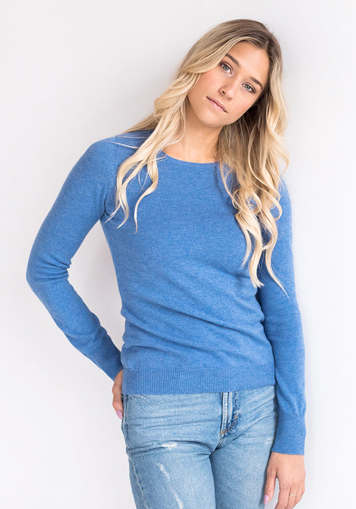 Fitted Roundneck Sweater Medium Blue