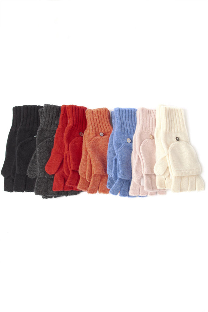 Fold Over Cashmere Mitts - The Cashmere Shop  - 1