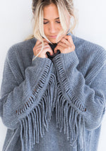 Grey Ribbed Cashmere Sweater with Fringe
