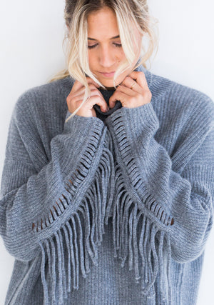 Cashmere Oversized Sweater with Fringe, Grey