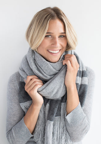 Cashmere Blanket Wrap With Fringe