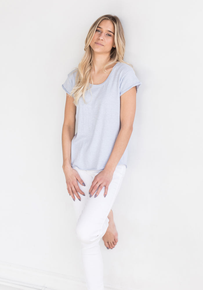 T Shirt in Frost Blue by Brodie - The Cashmere Shop Spring Collection