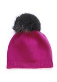 Cashmere and Fur Pom Pom Hat in Bright Pink with Black Fur by The Cashmere Shop Yorkville, Toronto