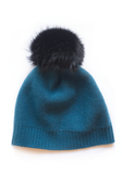Cashmere and Fur Pom Pom Hat in Teal with Black Fur by The Cashmere Shop Yorkville, Toronto