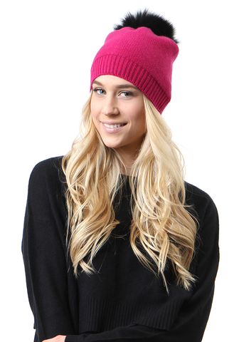 Cashmere and Fur Pom Pom Hat