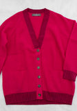 Oversized Two Tone Ribbed V Neck Cardigan with Buttons - Two Tone Pink - 100% Mongolian Cashmere by The Cashmere Shop