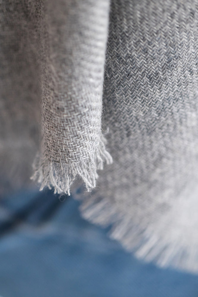 Grey Woven Cashmere Wrap