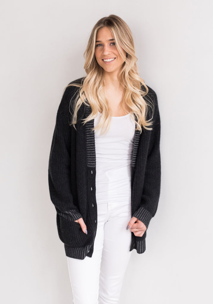 Oversized Two Tone Ribbed V Neck Cardigan with Buttons - Dark Charcoal Grey - 100% Mongolian Cashmere by The Cashmere Shop