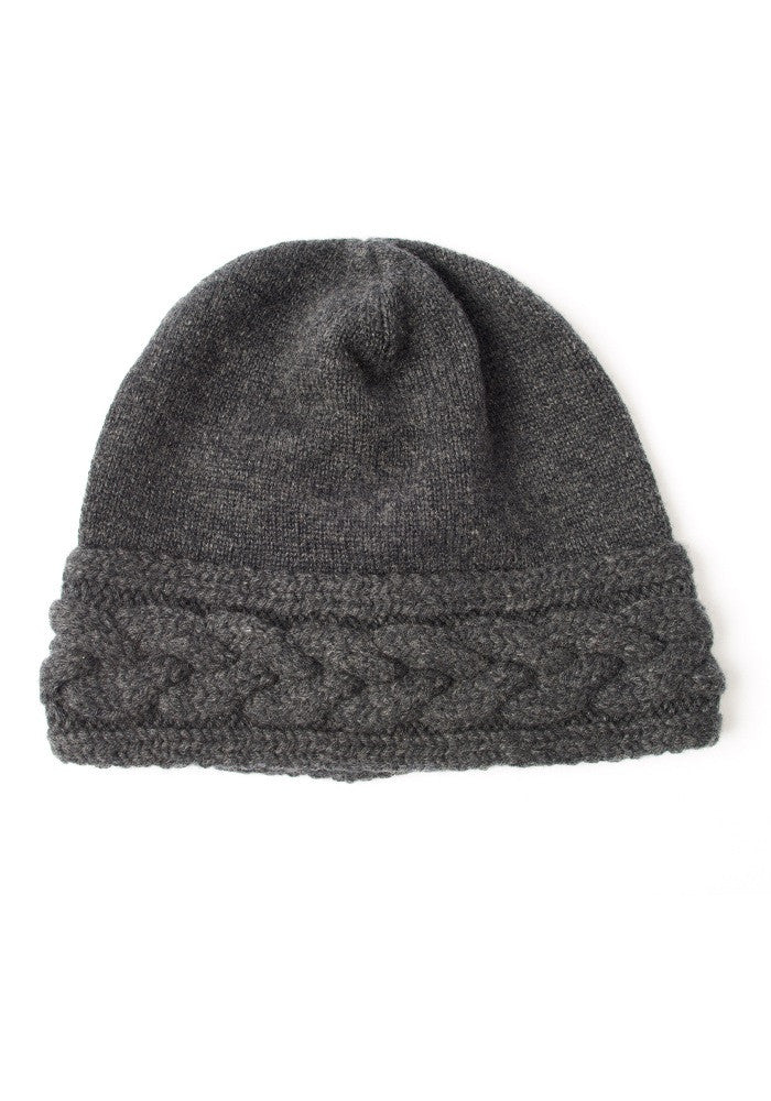Cashmere On Sale - Luxury Cable Hat in Charcoal Grey, 100% Mongolian Cashmere