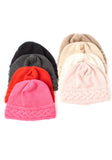 Cashmere On Sale - Luxury Cable Hat in Hot Pink and Black, 100% Mongolian Cashmere