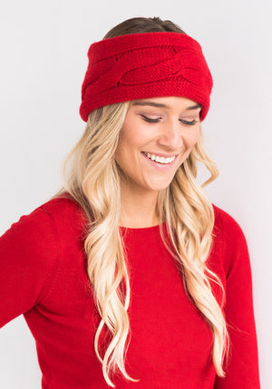 Cashmere Cable Headband in Red
