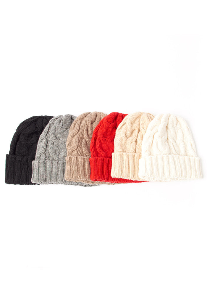 Cable Cashmere Hat in Medium Grey - Winter Accessories - 100% Mongolian Cashmere