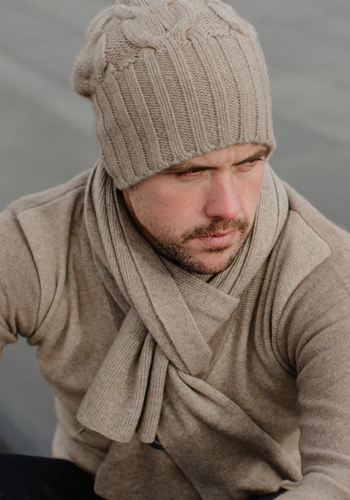 Mens Heavy Cable Hat - 100% Cashmere, Made in Mongolia