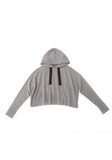 Cropped Hooded Sweater Light Grey