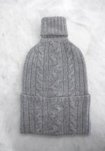 Cashmere Cable Knit Hot Water Bottle Cover in Grey