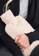 Cashmere Hot Water Bottle Cover in Light Natural