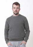 Men's Round Neck with Contrast Seam - Medium Grey - The Cashmere Shop