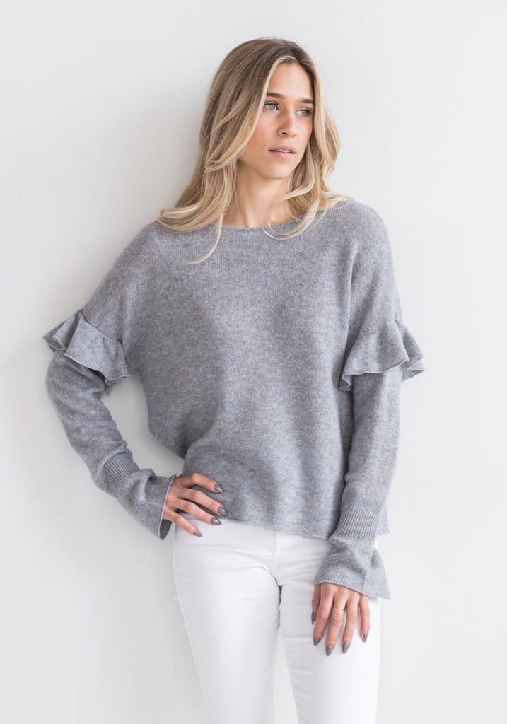 Cashmere Sweater Etoile Sleeves in Light Grey