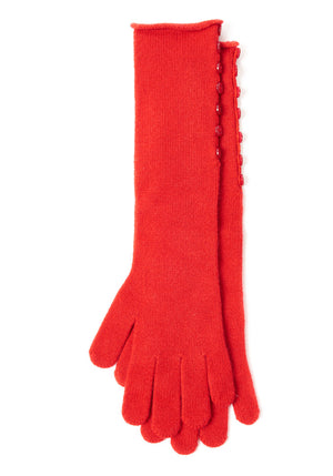 Cashmere Long Long Button Gloves - The Cashmere Shop  - 3
