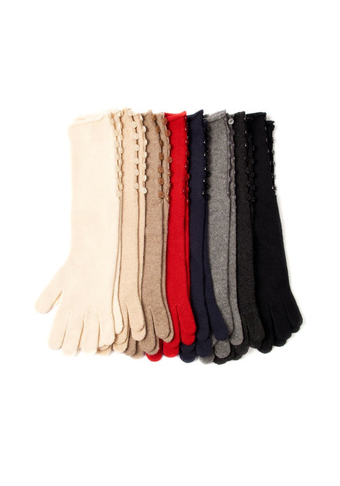 Cashmere Long Long Button Gloves - The Cashmere Shop  - 2