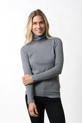 Cotton/Cashmere Flat Edge Turtle Neck