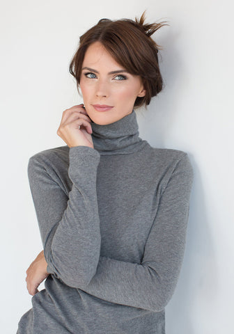 Cashmere Fitted Women's Cowl Neck