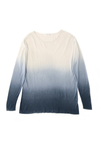 Cashmere Wide Neck Long Sleeve Spray Ecume & Blue Jean