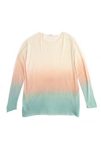 Cashmere Wide Neck Long Sleeve Spray Petale & Mint