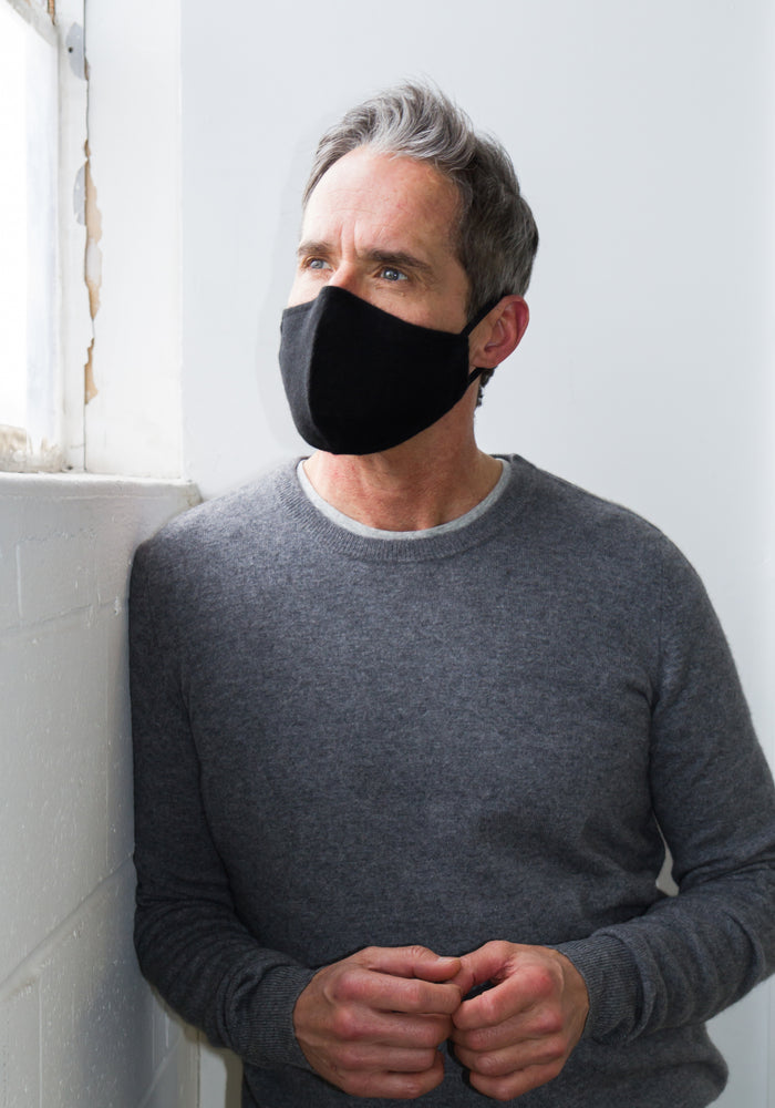 MENS CASHMERE FACE MASK - BLACK