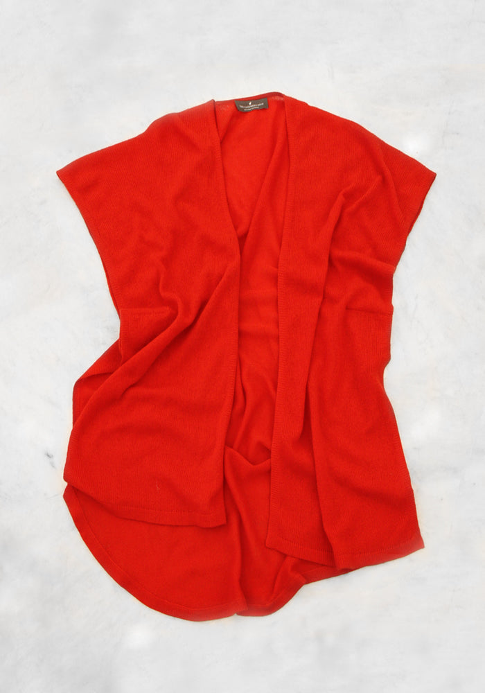 Lightweight Mesh Cardigan for Summer in Bright Red - 100% Cashmere