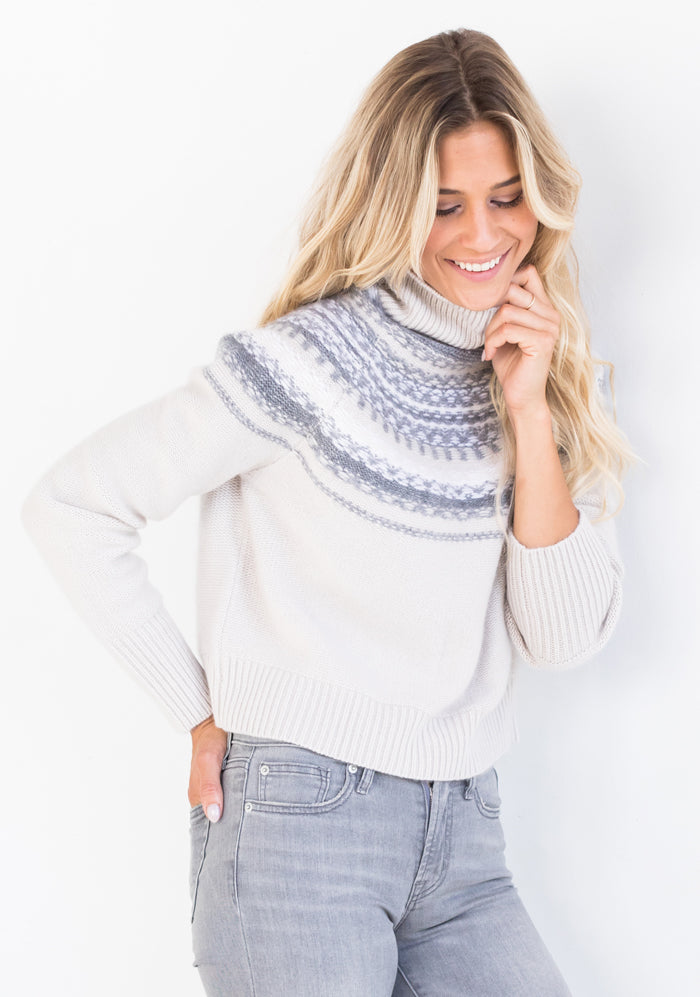 Cropped Turtle in White with Grey Detail - W. Cashmere