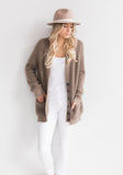 Oversized Two Tone Ribbed V Neck Cardigan with Buttons - Beige, Tan, Mushroom - 100% Mongolian Cashmere by The Cashmere Shop