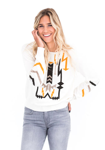 Brodie Navajo Sweater, White